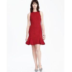 Banana Republic Red Ponte Dress with Flounce Skirt